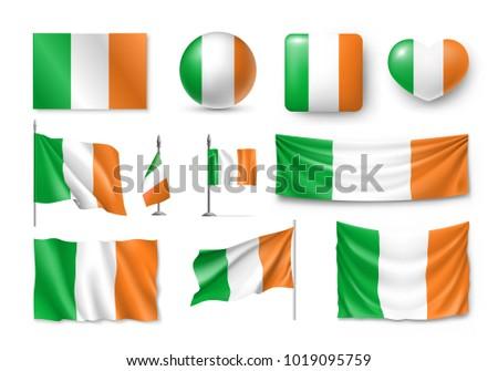 set ireland flags  banners