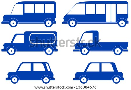 set isolated blue cars silhouette