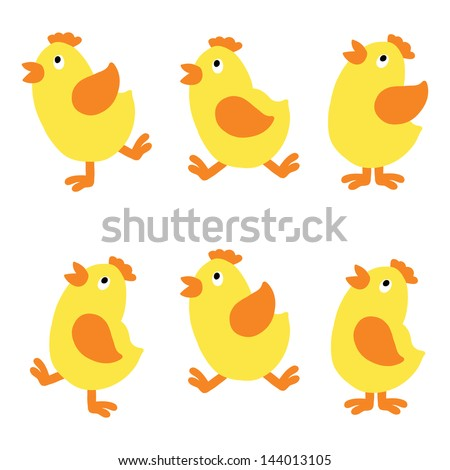 Set isolated chicken - vector