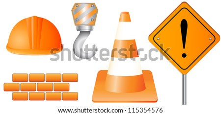set isolated construction object and sign