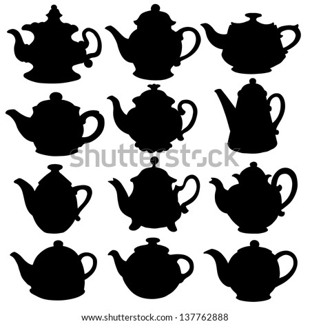 Set isolated icon silhouette kettles, teapots, coffee pot. Abstract design logo. Logotype art - vector