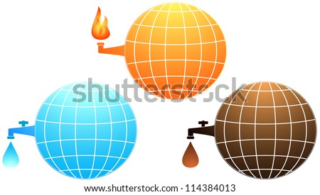 set isolated icon with planet resources - petroleum, water and gas fire