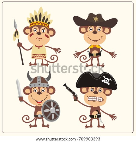 Set isolated monkey in cartoon style for design children holiday and birthday. Funny monkey in costume of viking, american indian, cowboy and pirate.