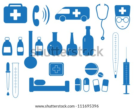 set isolated objects of medicine in blue background