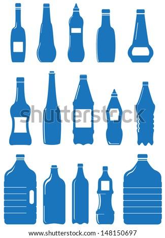set isolated plastic bottle Plastic Bottle Vector