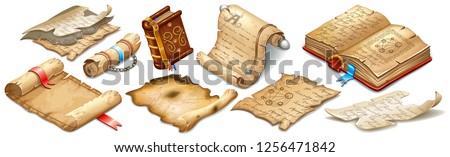 Set isometric books of magic spells and witchcraft, royal scrolls and parchments, old rice paper for computer game. Fairy tale icon in cartoon style. Isolated 3d vector illustration.