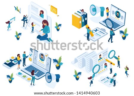 Set isometric concept job search applicant, resume writing, HP Manager, recruiters looking for employees. For create website and applications
