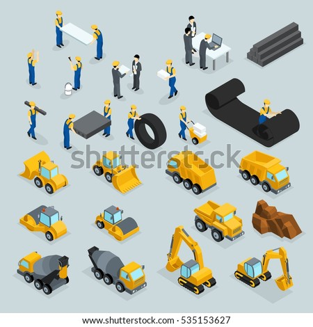 Set isometric 3D icons for construction workers, crane, machinery, power, transportation, clothing, buses on a gray background