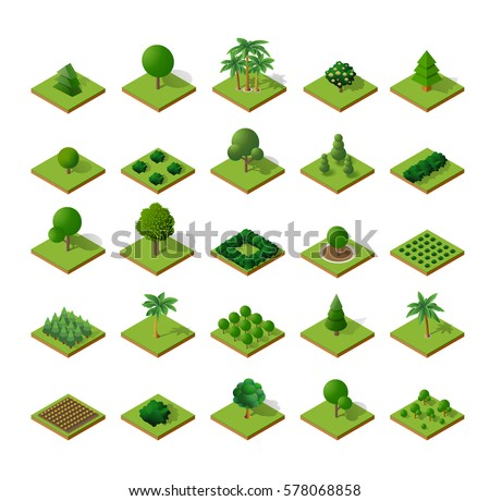 Set Isometric 3d trees forest  nature elements white background for landscape design. Vector illustration isolated. Icons for city maps, games and your town