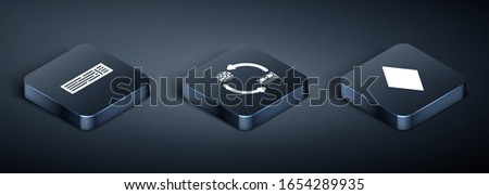 Set Isometric Deck of playing cards, Playing card with diamonds symbol and Casino chips exchange on stacks of dollars icon. Vector