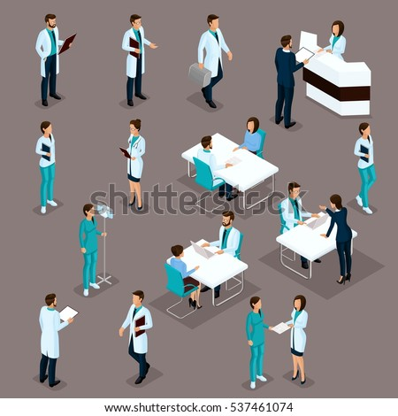Set Isometric Doctors Hospital Staff Nurse 3D surgeons and patients. Health experts hospital isolated on a dark background. Vector illustration.
