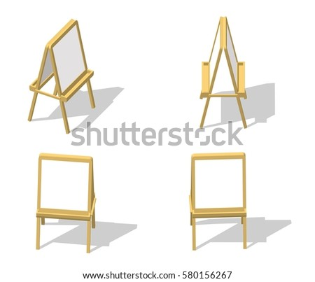 Set Isometric easel. Drawing Whiteboard. Paint desk and white paper isolated on white background. Vector illustration eps 10