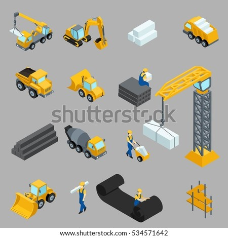 Set Isometric icons for construction workers, crane, machinery, power, transportation, clothing, buses on a gray background.