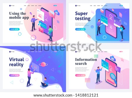 Set isometric landing pages, a concept with young teenagers working on a tablet and on a mobile phone screen. For website and mobile website development