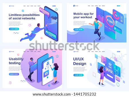 Set isometric landing pages, concept of user interface development, testing and use by users. Mobile application for sports training