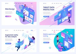 Set isometric landing pages, on the topic of web design, information security, mobile application testing, alternative reality. For website and mobile apps develop