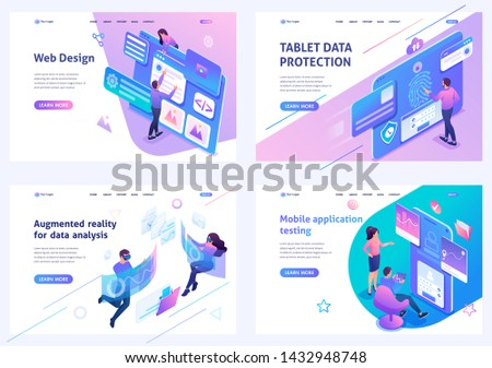 Set isometric landing pages, on the topic of web design, information security, mobile application testing, alternative reality. For website and mobile apps develop stock photo