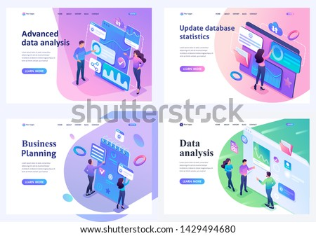 Set isometric landing pages, Young people collect and analyze data, make business plans. For website and mobile apps development