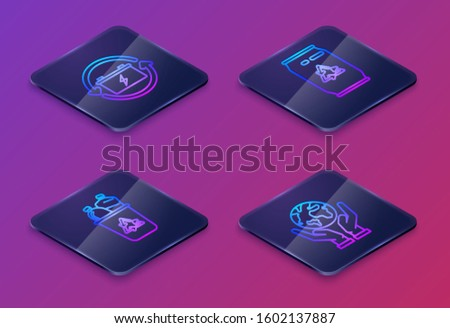 Set Isometric line Battery with recycle symbol, Recycle bin with recycle symbol, Can with recycle symbol and can and Human hands holding Earth globe. Blue square button. Vector