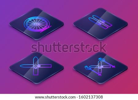 Set Isometric line Bicycle wheel, Ski and sticks, Ski and sticks and Ski and sticks. Blue square button. Vector