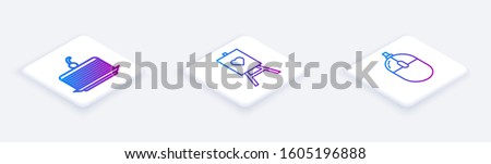 Set Isometric line Cake, Wood easel or painting art boards and Computer mouse. White square button. Vector