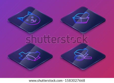 Set Isometric line Cat, Veterinary clinic symbol, Veterinary clinic symbol and Veterinary clinic symbol. Blue square button. Vector