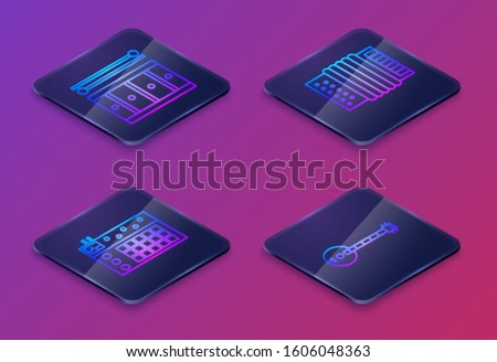 Set Isometric line Drum with drum sticks, Drum machine, Musical instrument accordion and Banjo. Blue square button. Vector