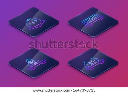 Set Isometric line Khinkali on cutting board, Sushi on cutting board, Sushi on cutting board and Sushi on cutting board. Blue square button. Vector