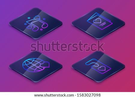 set isometric line music note