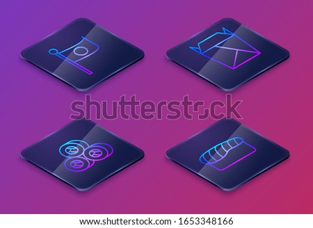 Set Isometric line National flag of Japan on pole, Sushi, Rstaurant opened take out box filled and Sushi. Blue square button. Vector