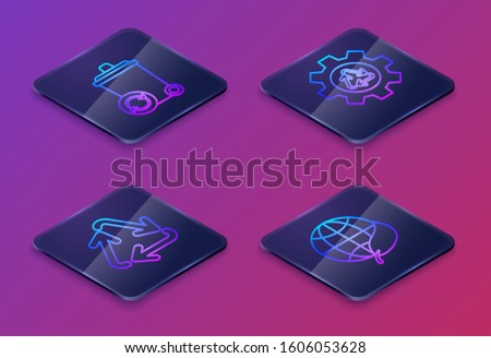 Set Isometric line Recycle bin with recycle symbol, Recycle symbol, Recycle symbol and gear and Earth globe and leaf. Blue square button. Vector