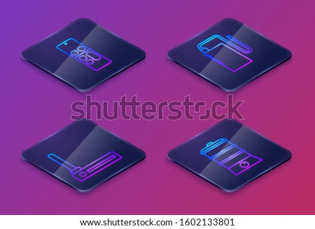 Set Isometric line Remote control , Router and wi-fi signal , Power bank with different charge cable  and Double boiler . Blue square button. Vector