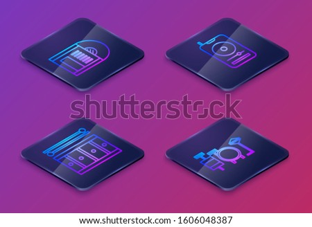 Set Isometric line Vinyl disk, Drum with drum sticks, Music player and Drums. Blue square button. Vector