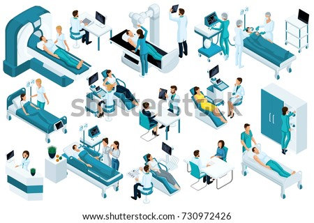 Set Isometric, medical workers and patients, hospital bed, MRI, X-ray scanner, ultrasound scanner, dental chair, operating room. #730972426