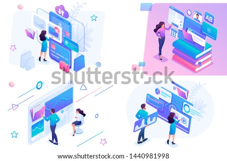 Set isometric on the topics of online shopping, statistical analysis, digital marketing. For website and mobile website development