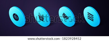 Set Isometric Search in a browser window, Stacks paper money cash, Shopping basket and food and Ten discount percent tag icon. Vector.