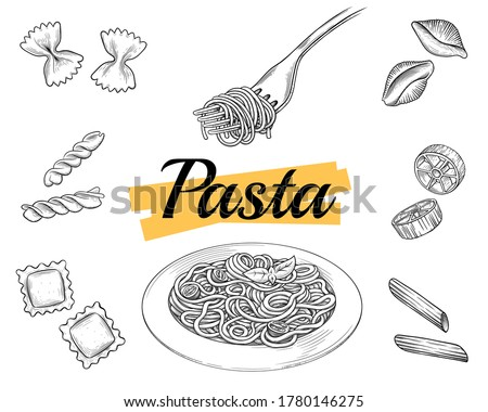 Set Italian pasta on fork and plate. Farfalle, conchiglie, penne, fusilli, spaghetti. Vector vintage black illustration isolated on white background. Engraving style.