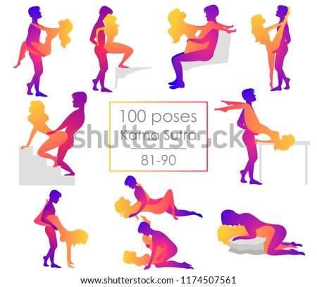 Set 10 Kama Sutra positions. Man and woman on white background sex poses illustration. 81-90/100 poses