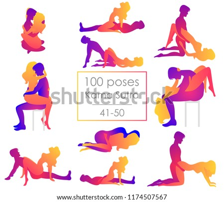 Set 10 Kama Sutra positions. Man and woman on white background sex poses illustration. 41-50/100 poses
