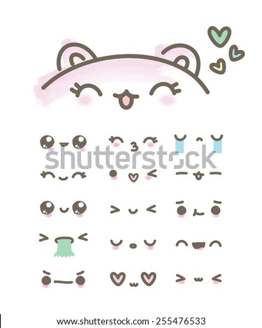 set kawaii emoticons