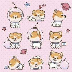 Set Kawaii Smile Japanese Dog Akita Inu Cartoon. Funny Stickers with Animals. Dog is Sleeping, Walking, Thinking, Sniffing, Exploring. On Head Dog is Wearing Cosmonauts Transparent Helmet.