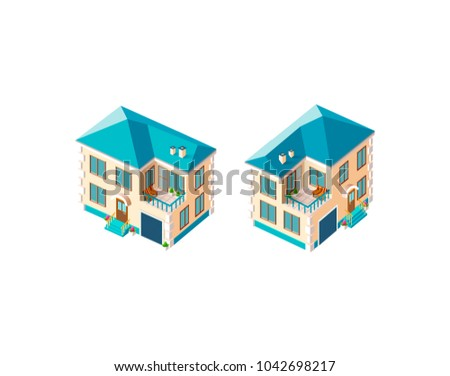 Set kit collection vector isolated isometric illustration left right view beige country house vacation home, penthouse, property real estate garage city infrastructure element icon white background