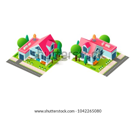 Set kit collection vector isolated isometric illustration left right view country house architecture vacation home, penthouse cottage garage near road city infrastructure element icon white background