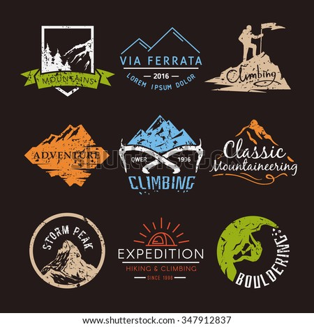 Set labels on the theme of Climbing, Trekking, Hiking, Mountaineering. Extreme sports, outdoor recreation, adventure in the mountains, vacation. Achievement.