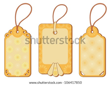 Set labels tags with floral pattern and ropes. Vector