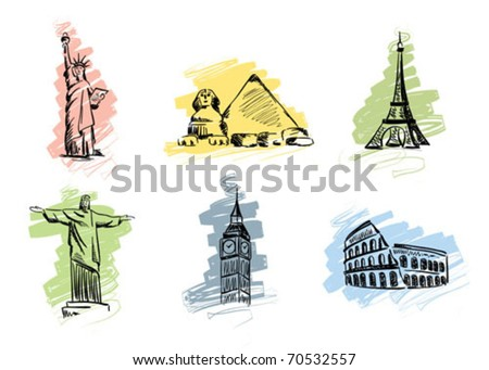 Set landmarks - stock vector