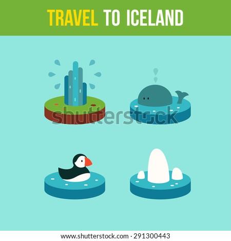 set landmarks of iceland in