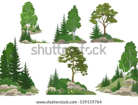 set landscapes  isolated on