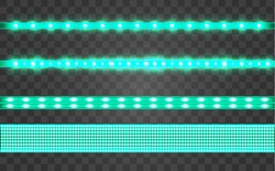 Set LED realistic green ribbon on a transparent background. Neon or led glowing light stripes with glare and light flashes. LED neon Garlands decorations template on a transparent background