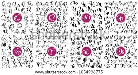 Set letter Q, R, S, T, U, V, W, X Hand drawn vector flourish calligraphy. Script font. Isolated letters written with ink. Handwritten brush style. Hand lettering for logos packaging design poster Stock fotó ©
